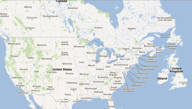 Map Of England Over Usa.Map Comparing The Size Of North America With The Uk Rob Little S