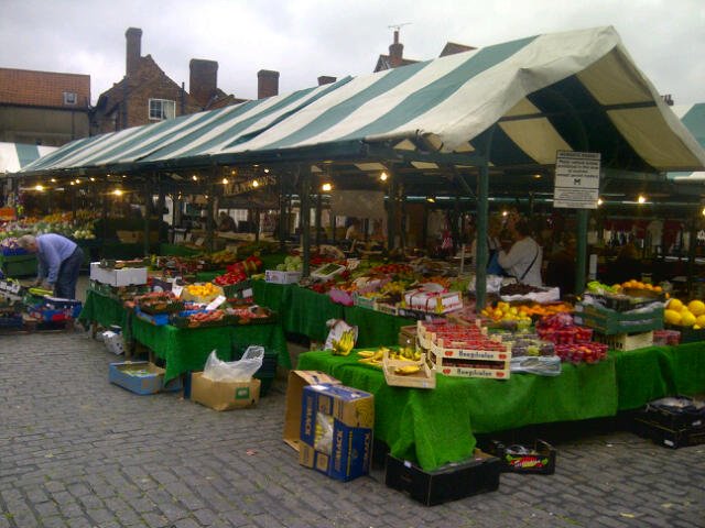 The market near the Shambles in York, England