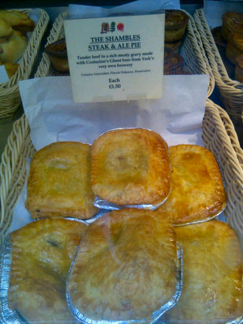 Special pies in the York Sausage Shop in the Shambles in York, England