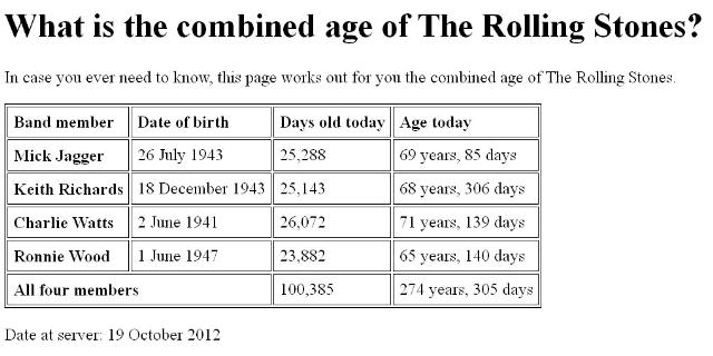Rolling Stones    Doom and Gloom     a combined age of 275