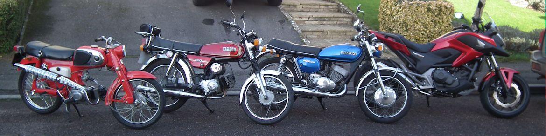 Honda NC750 (2014) Suzuki T250 (1972) Yamaha YB100 (1989) Honda C110 (1965) DSCF1249