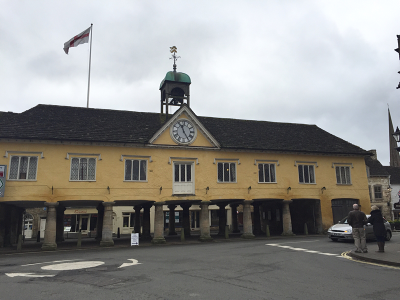 Tetbury's Town Hall with the ENGLISH flag flying !