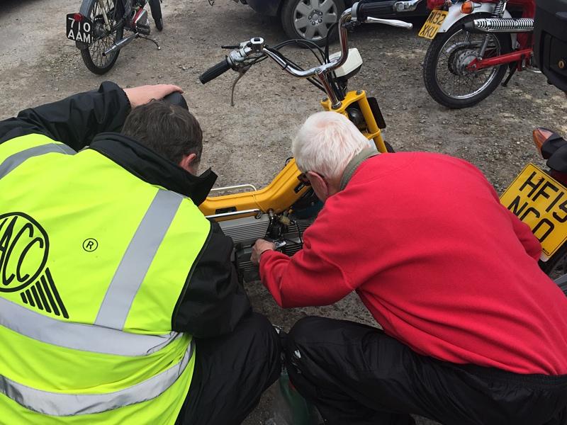 Dennis fixing Steve's bike