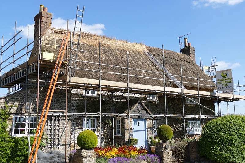 The thatcher is repairing one of the roofs